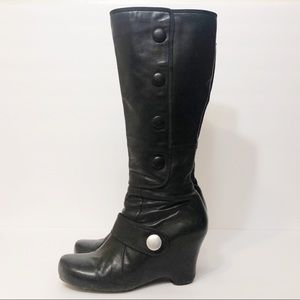 Miz Mooz Jessey Leather Wedge Tall Boots